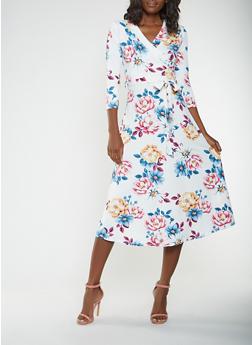 Floral Faux Wrap Midi Dress - 0094074283104