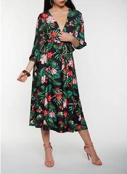 Floral Tie Waist Midi Dress - 0094074283578