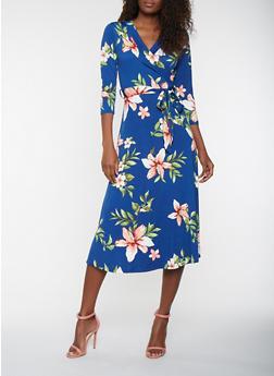 Floral Faux Wrap Midi Dress - 0094074283579