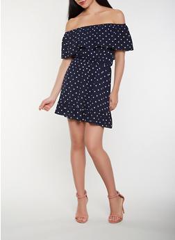 Polka Dot Off the Shoulder Skater Dress - 0094074283588