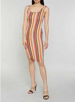 Vertical Stripe Tank Dress - 0094075179090