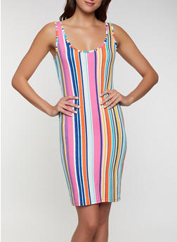 Multi Stripe Soft Knit Tank Dress - 0094075179093