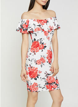 Textured Knit Floral Off the Shoulder Dress - 0094075179116
