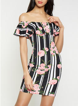 Striped Floral Off the Shoulder Bodycon Dress - 0094075179165