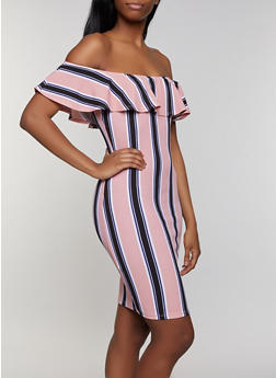 Striped Textured Knit Off the Shoulder Dress - 0094075179166