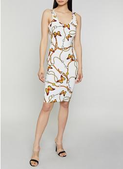 Butterfly Chain Print Tank Dress - 0094075179170