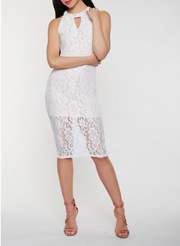 Choker Neck Lace Midi Dress - 0096038348753