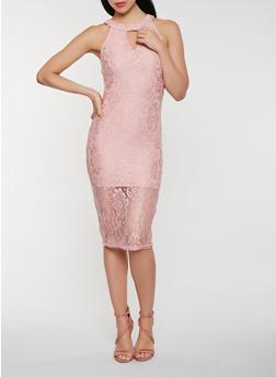 Choker Neck Lace Midi Dress - 0096038348753