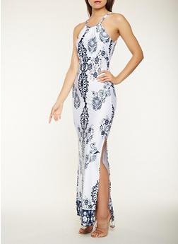 Printed Metallic Detail Maxi Dress - 0096038348896