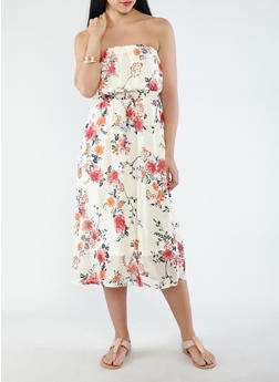 Printed Chiffon Tube Dress - 0096051063447