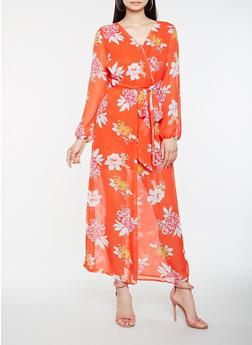 Sheer Floral Faux Wrap Maxi Dress - 0096051063468