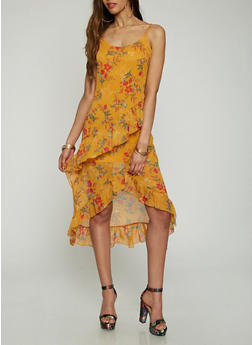Printed Asymmetrical Slip Dress - 0096051063554