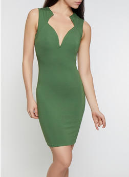 Ponte Plunge Bodycon Dress - 0096058752216