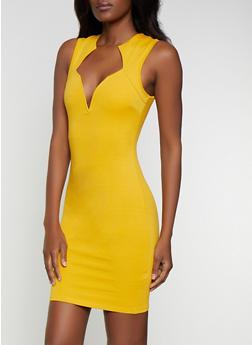 Ponte Plunge Bodycon Dress - 0096058752216