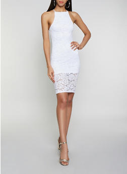 High Neck Lace Bodycon Dress - 0096058752247