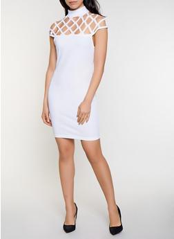 Laser Cut Yoke Bodycon Dress - 0096062125647
