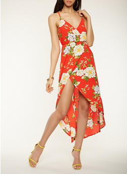Floral Faux Wrap High Low Dress - 0096069394021