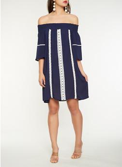 Crochet Detail Off the Shoulder Dress - 0096074011029