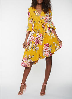 Floral Faux Wrap Bell Sleeve Dress - 0096074011030
