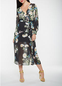 Floral Faux Wrap Maxi Dress - 0096074280156