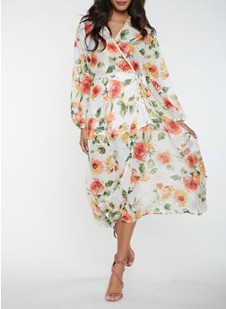 Floral Long Sleeve Wrap Maxi Dress - 0096074280157