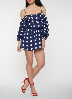 Polka Dot Off the Shoulder Dress - 0096074283107