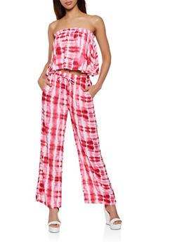 Ruffle Tie Dye Tube Top and Pants Set - 0097038340915