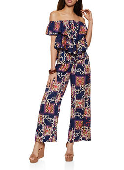 Printed Off the Shoulder Top and Pants Set - 0097038340916