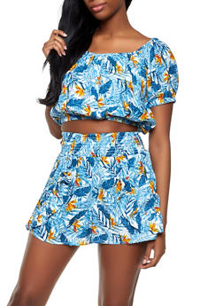 Floral Crop Top and Ruffle Shorts Set - 0097038340921
