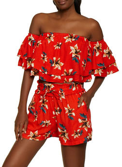 Floral Off the Shoulder Crop Top and Shorts - 0097038340922