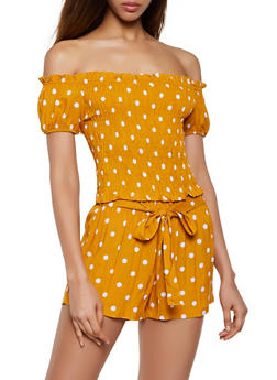 Polka Dot Off the Shoulder Top and Shorts Set - 0097038340924