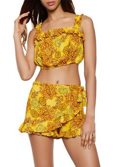 Printed Ruffle Crop Top and Wrap Skort - 0097038340926