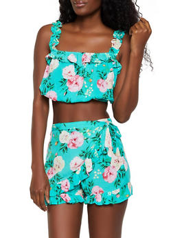 Floral Ruffle Crop Top and Shorts - 0097038340927