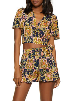 Printed Wrap Crop Top and Shorts - 0097038340928