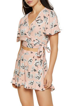 Floral Wrap Top and Shorts Set - 0097038340929