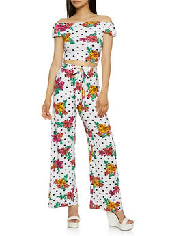 Floral Polka Dot Off the Shoulder Crop Top and Palazzo Pants - 0097038349729