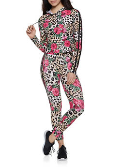 Floral Animal Print Hooded Top and Leggings - 0097051060971