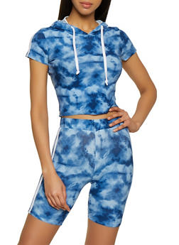 Tie Dye Bike Short and Hooded Top Set - 0097061630160