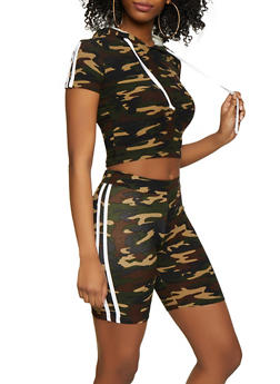 Varsity Stripe Camo Top and Bike Shorts - 0097061630161