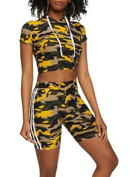 Varsity Stripe Camo Top and Bike Shorts - 0097061630161