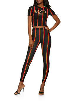 Foil Good Vibes Striped Hooded Top and Leggings - 0097061630162