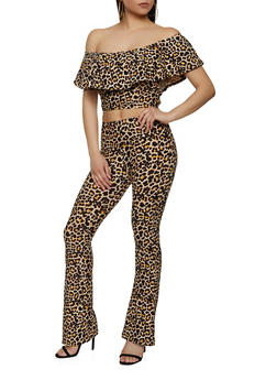 Leopard Off the Shoulder Crop Top with Flared Pants - 0097061630164