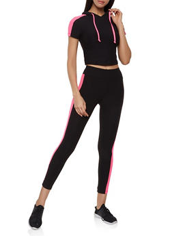 Side Stripe Hooded Crop Top and Leggings - 0097061630174