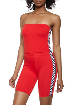 Checkered Tape Trim Tube Top and Bike Shorts - 0097061630176