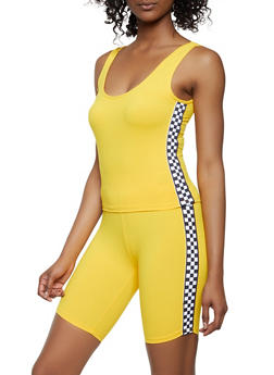 Checkered Tape Trim Crop Top and Bike Shorts - 0097061630177