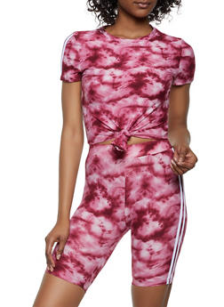 Tie Dye Tie Front Tee and Bike Shorts - 0097061630178