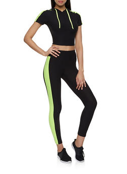 Contrast Trim Hooded Crop Top with Leggings - 0097061631174