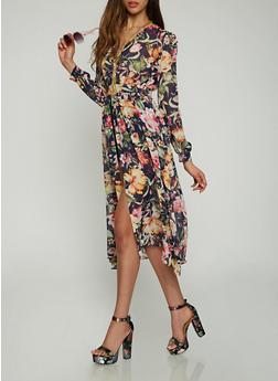 Faux Wrap Floral Maxi Romper - 0097074281503
