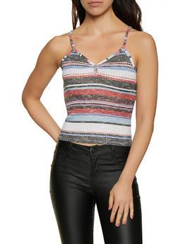 Rib Knit Striped Cami - 0300015990517