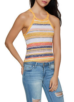 Striped Knit Scoop Neck Tank Top - 0300015990524